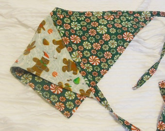 Dog Bandana with Gingerbread Boys & Girls Tie Style Sizes L Ready to Ship