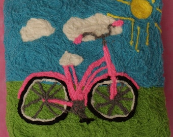 My Hot Pink Beach Cruiser Bicycle Folk Art Pillow by Fiber Artist Miss Mavis Stevens