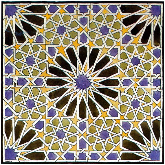 Mural Mosaic in The Alhambra on mono deluxe Needlepoint Canvas