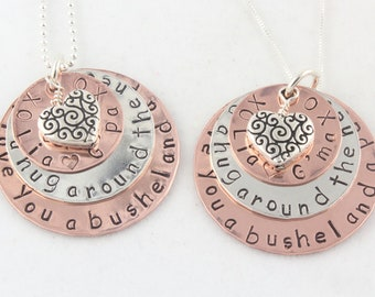 We Love You A Bushel and A Peck Necklace - Gift For Mom - Personalized Necklace - Copper Necklace - Sterling Silver Necklace - Mixed Metal