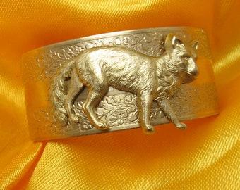 Fox cuff foxes bracelet womens or mens cuff bracelet gold fox cuff
