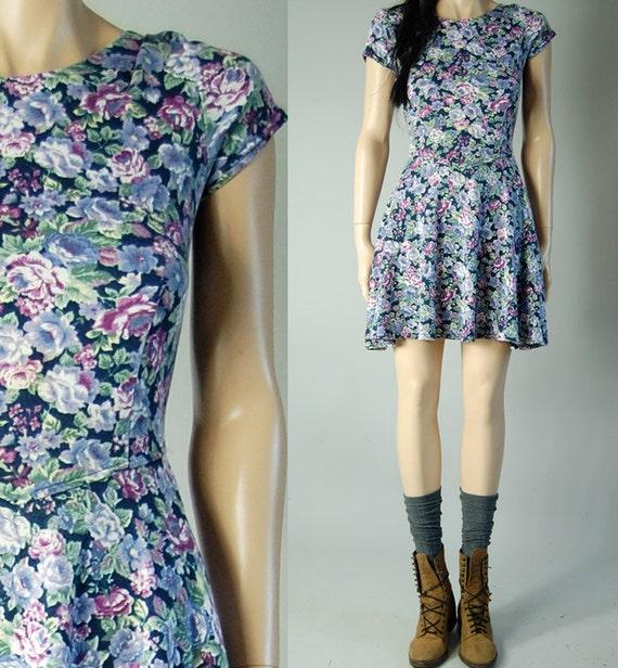 vintage 90s floral GRUNGE MINI DRESS summer s/m