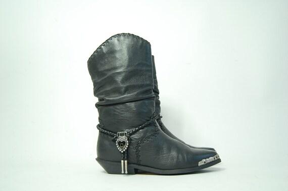 vintage ZODIAC BLACK BOOTS slouch tassel leather womens 8.5