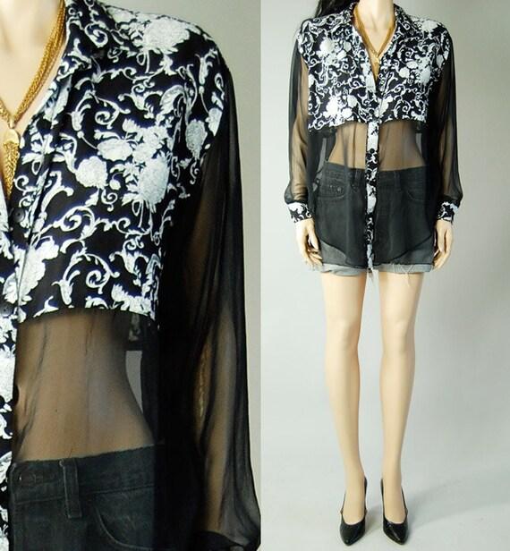 vintage 90s black white floral semi sheer blouse womens s/m/l