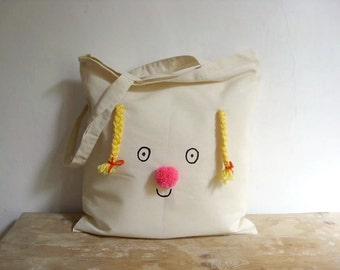 Tote bag on cotton - MADE TO ORDER. Miss Sunshine, happy face with yellow braids and fluor pink pompom