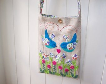 FABRIC ART    A Unique Handmade and hand sewn Bag / purse decorated with felt  Birds Flowers and beads and with a floral cotton lining