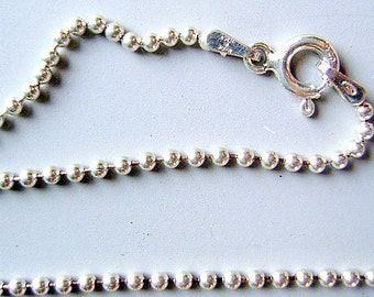 CHAIN, STERLING, SILVER, 16 inch, 2mm, Ball, Finished, Dog Tag, Clasp