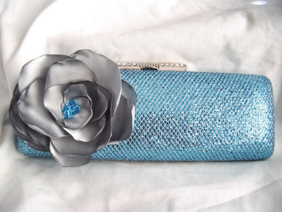 Ice Blue and Silver Glitter Clutch with silver satin flower - Minaudiere - Something Blue - Bridal Clutch - Trendy Bride - chain strap