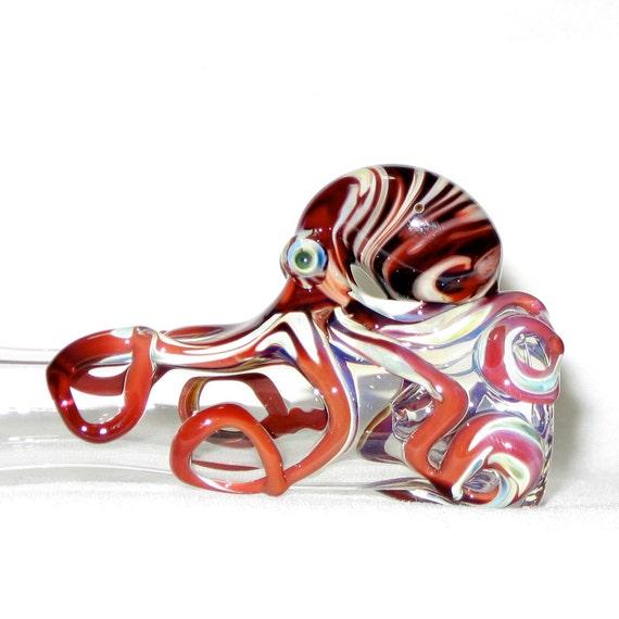 Octopus Chillum Medium Fumed Color Changing Hand Blown Glass
