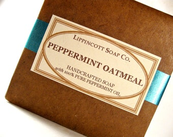 Peppermint Oatmeal Soap, Cold Process Soap, All Natural Soap, Peppermint Essential Oil Soap, Bar Soap, Oatmeal Soap, Palm Oil Free Soap