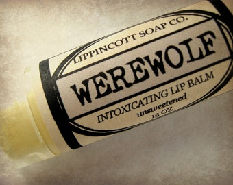 Werewolf Lip Balm, Unsweetened Lip Balm, Lavender Musk Lip Balm, Unique Lip Balm, Unisex Lip Balm, Men's Gift, Father's Day