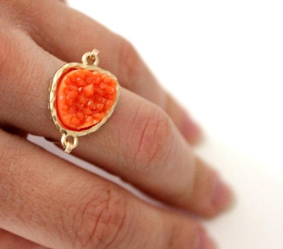 Druzy orange ring 14kt gold filled - custom size
