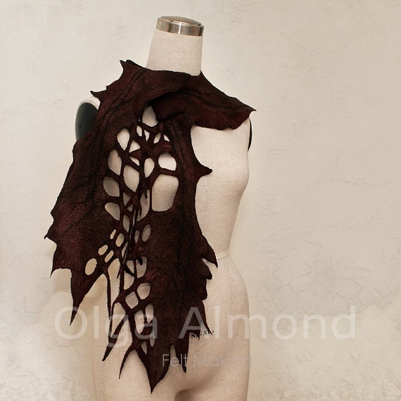 Scarf-capelet.Capelet.Felted merino wool and silk scarf.Hand dyed scarf.