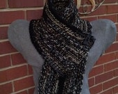 Crocheted chunky cowl in black and greys grays