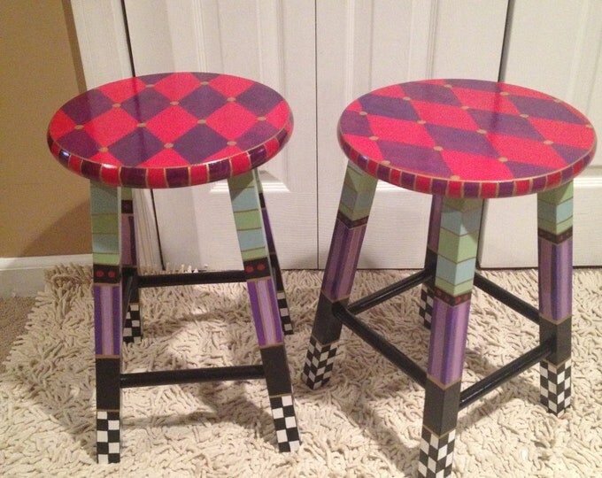 Whimsical Painted Furniture, Whimsical Painted Stool // Custom Painted Stool // Whimsical Furniture