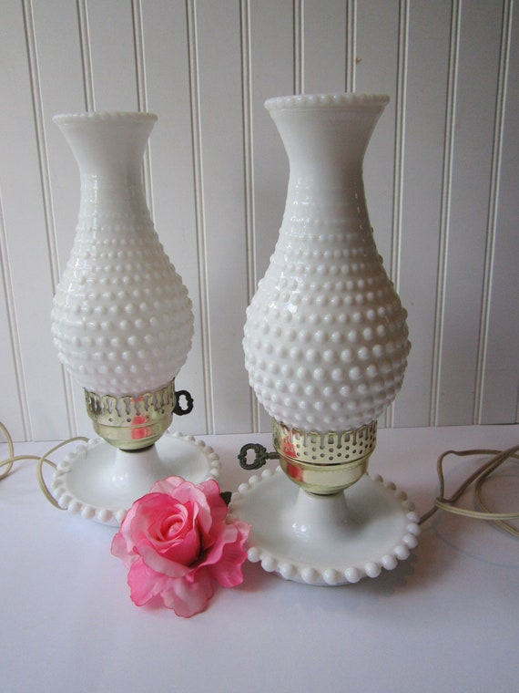 vintage milk glass hobnail lamp pair