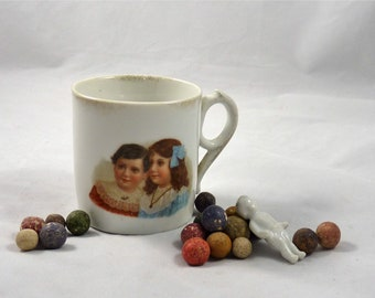 Victorian Child's Mug with the Image of Two Children