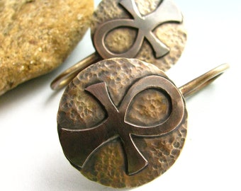 10 Gauge Earrings - Bronze And Copper Ankh Earrings, Gauged Earrings - Egyptian Inspired Metalsmith Earrings, Stretched Enlarged Piercings