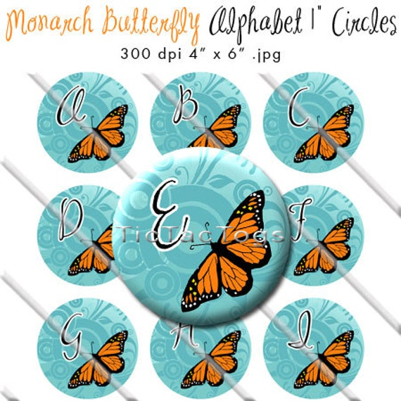 SALE - Monarch Butterful Bottle Cap Images Digital 1 Inch Circle Stickers Blue Circle Scroll Orange