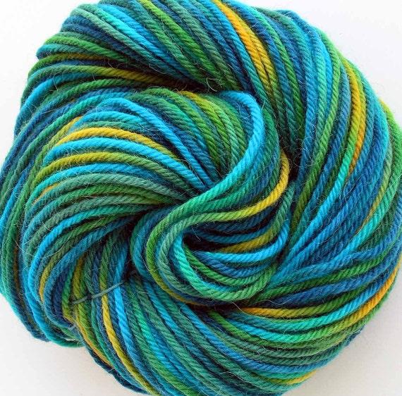 Hand Dyed Alpaca Wool Worsted Weight Yarn - Blue Lagoon