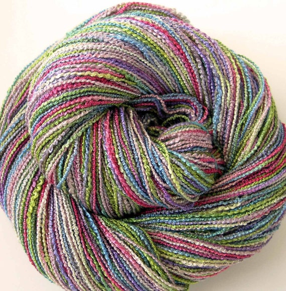 Hand Dyed Rayon Boucle Yarn - Spring Garden