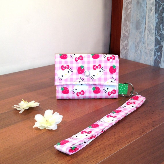 Hello Kitty Mini Clutch -Wristlet -  iphone case - Mini Wallet - credit card case - Smidget Keyring Wallet