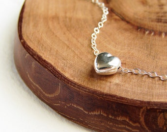 Silver Heart necklace, bridesmaid jewelry, solid heart sterling silver, heart jewelry, heart necklace, bridesmaid gift