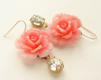 Pink Rose rhinestone drop earrings, bridesmaid jewelry, vintage rose rhinestone earrings bridal statement earrings wedding bridal jewelry