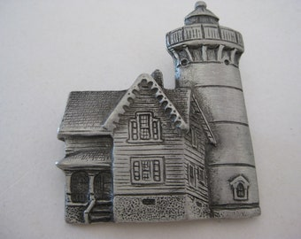 Lighthouse Brooch Pewter Vintage Pin