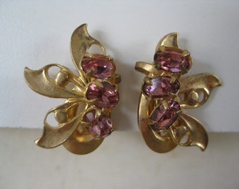 Pink Gold Earrings Rhinestone Screw Vintage
