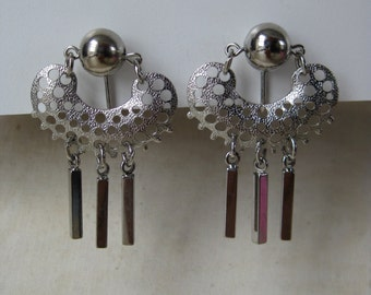 Silver Dangle Earrings Clip Vintage