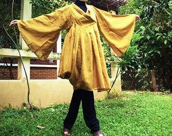 Lotus...Autumn dress yellow  mix silk (one size fits most)