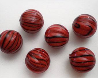 FINAL SALE - 10pcs Red Black stripe fluted 12mm acrylic beads