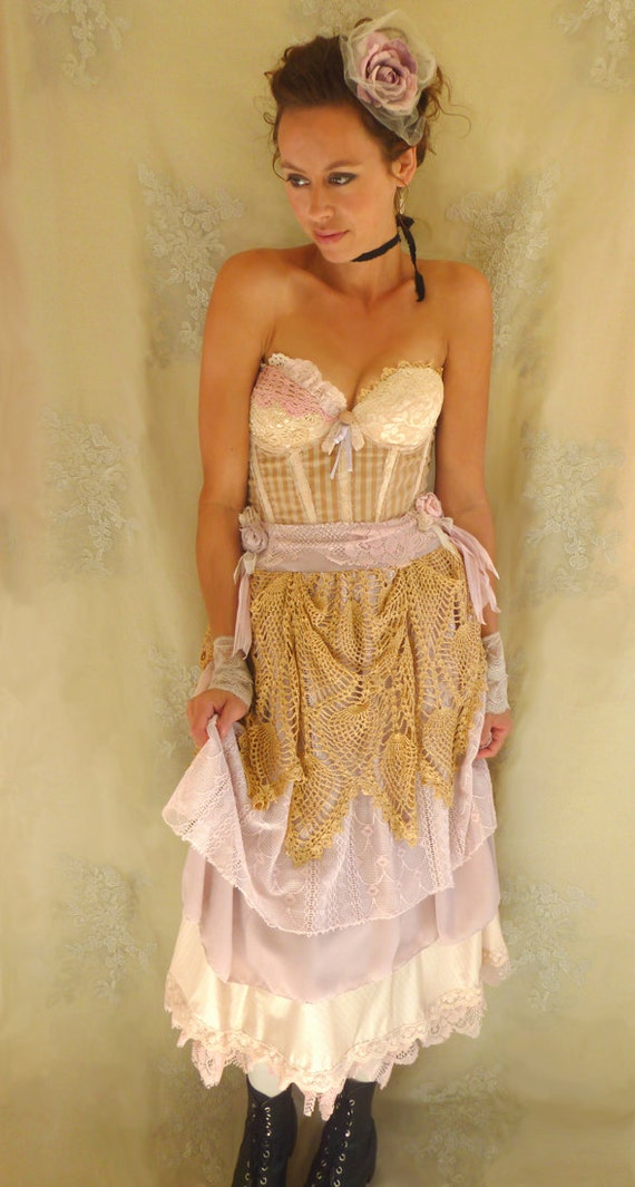 Antoinette Bustier Wedding Dress... size Medium 36B... Eco Friendly Rococo Alternative Gown Pink Shabby Chic Recycled