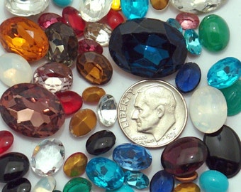 50 assorted Oval vintage glass rhinestones - different shapes and sizes