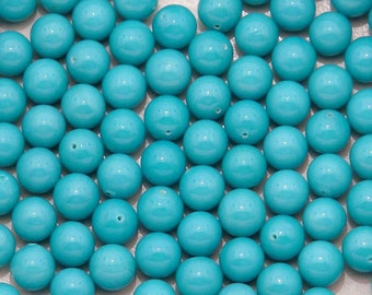 6mm vintage turquoise one-hole beads - half drilled - 24pc