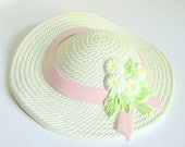 Vintage Plastic Straw Hat Burwood Wall Pocket Shabby Cottage Sun Bonnet in Cream and Pink