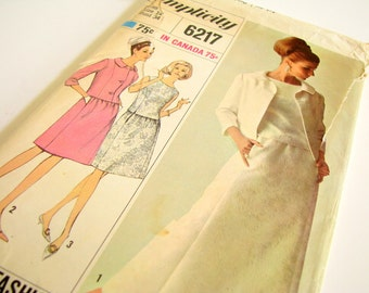 Uncut Vintage 1960's Designer Fashion Dress and Jacket Sewing Pattern, Simplicity 6217, Bust 34 Inches