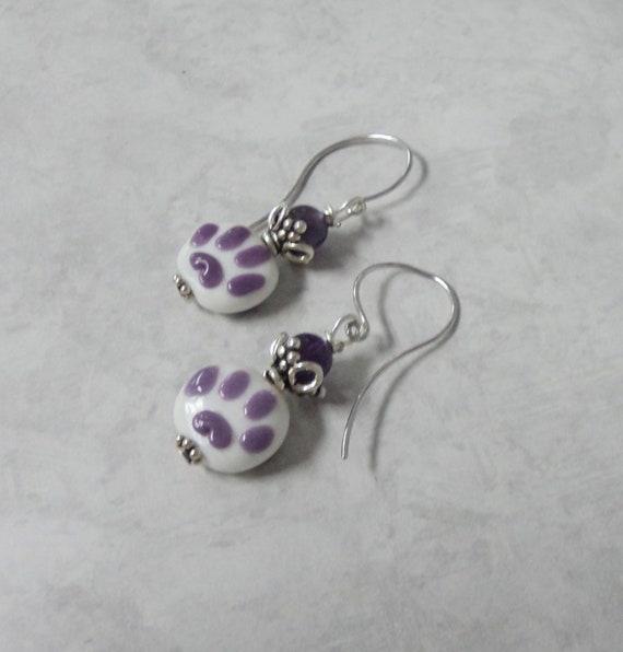 CHARITY ITEM Earrings Puppy Paw Purple Lampwork Amethyst Dangle Pierced
