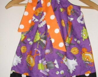Halloween  Dress pillowcase dress purple orange black pillowcase 3,6,9,12,18 months 2t,3t,4t,5t,6,7,8,9,10,12,14