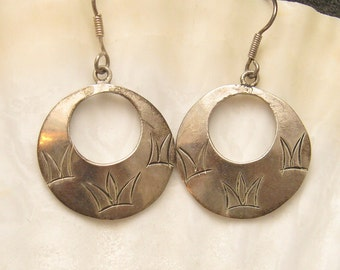 Vintage Mexican Sterling Hoop Earrings E4918