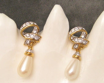 Long Pearl Rhinestone Earrings Dangly Vintage Jewelry