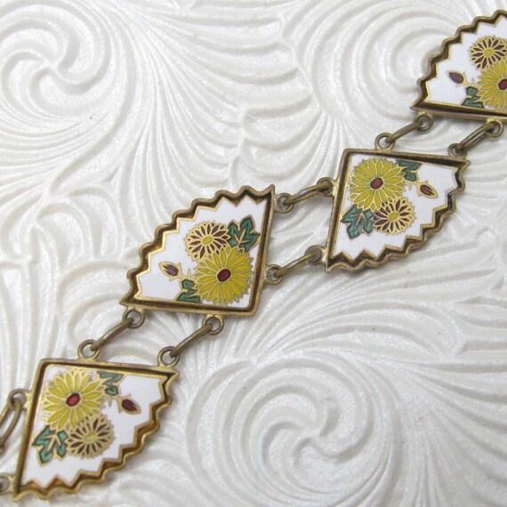 Vintage Fan Bracelet Enamel Jewelry Floral Bracelet B4606