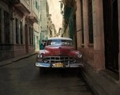 Pure Cuban Classic American Car Photography, Luxury Cuba, Red Vintage Havana Car. Exotic Alley. - Cartonic