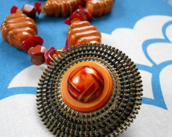 Saharan Sunset necklace - vintage zipper pendant, red aventurine, orange porcelain, coral, jasper