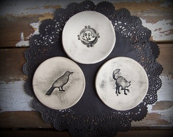 Halloween Raven, Black Cat and Ghost Trio of Decorative Mini Plates