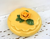 Vintage Sunny Yellow Ceramic Covered Dish with Scalloped Lid & Happy Yellow Rose