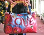 """Sealed with a Kiss or S.W.A.K. - A Romantic Hand-painted Purse with Bamboo Handles  25% discount on all items, use code""""XAMS16"""" at checkout."""