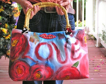 Sealed with a Kiss or S.W.A.K. - A Romantic Hand-painted Purse with Bamboo Handles