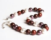 Swarovski Pearl Necklace Burgundy Red White with Sterling Silver - Opera Ball